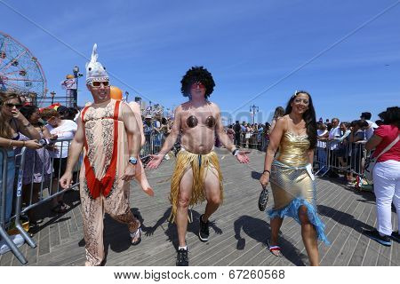 Middle age men in skimpy costume
