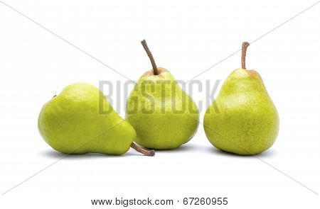 Ripe green pears isolated on white