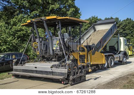 Paver On Road Construction