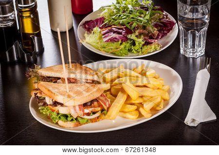 Club Sandwich With Potato French Fries