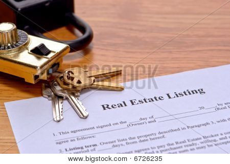 Real Estate Listing Document On Realtor Desk