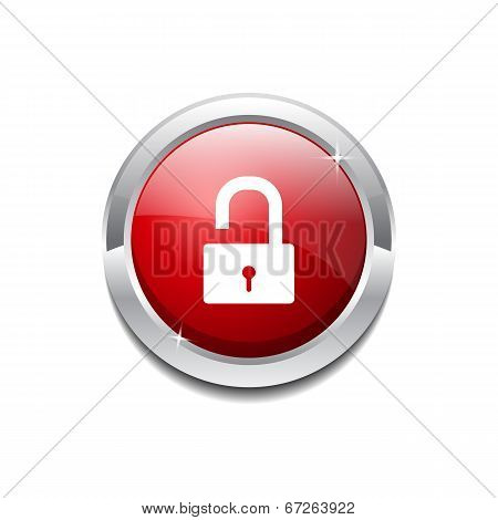 Unlock Circular Red Vector Web Button Icon