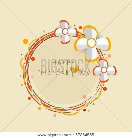 Happy Friendship Day celebrations greeting card design with silver flowers on beige background.