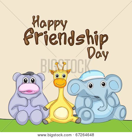 Kiddish greeting card design for Happy Friendship Day concept with cute bear, giraffe and elephant friends.