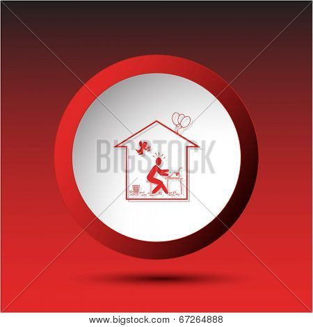 Home inspiration. Plastic button. Vector illustration.