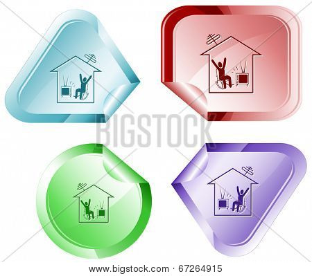 Home watching TV. Vector sticker.