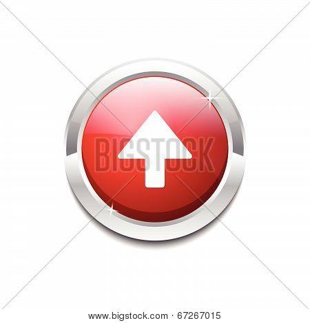 Up Key Circular Vector Red Web Icon Button