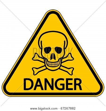 Skull And Bones Danger Triangular Sign