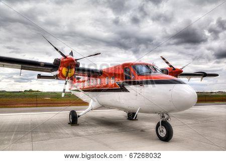 Vintage Propeller Plane On Airport Runway