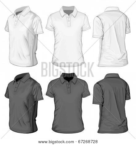 Men's white and black short sleeve polo-shirt design templates (front and half-turned views). Vector illustration.