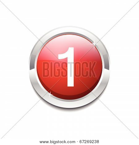 1 Number Circular Vector Red Web Icon Button