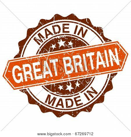 Made In Great Britain Vintage Stamp Isolated On White Background