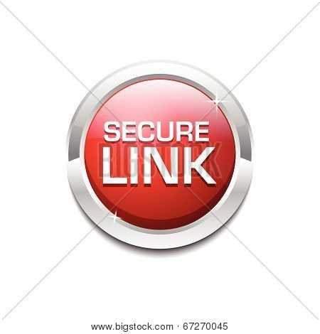 Secure Link Glossy Shiny Circular Vector Button