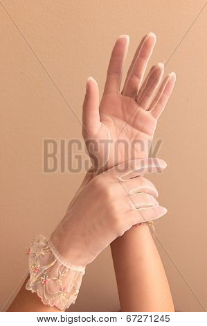 Womans Hands Modeling Vintage Lace Gloves