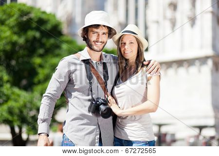 Tourists couple having nice time