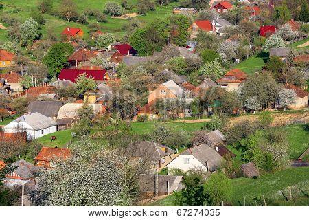 view on Carpathian Village at spring time