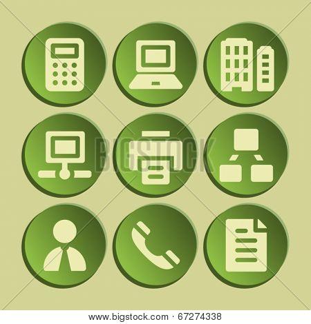 Office web icons set. Green sticker.