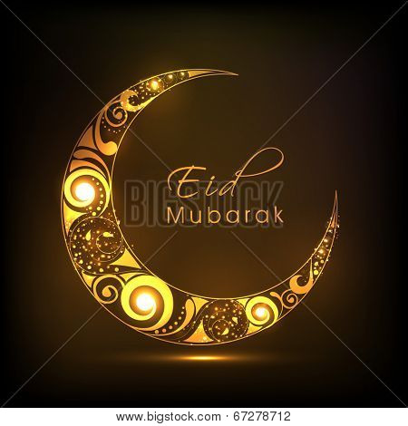 Shiny floral design decorated crescent moon on brown background for Eid Mubarak festival celebrations.