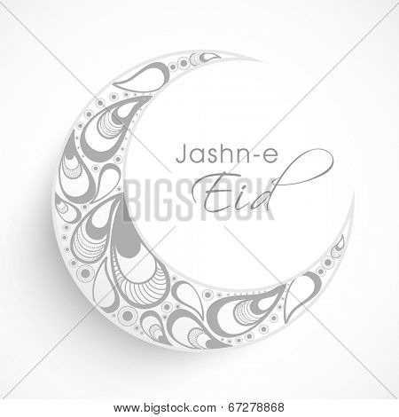 Beautiful crescent moon decorated with beautiful floral design on grey background for Jashn-e-eid, Eid Mubarak festival celebrations.
