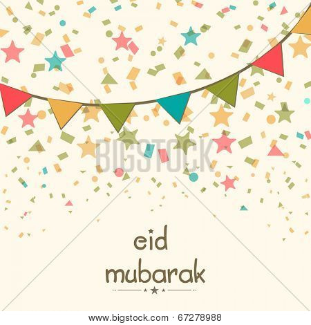 Stylish greeting card design with colourful ribbons on stars decorated beige background for Eid Mubarak celebrations.
