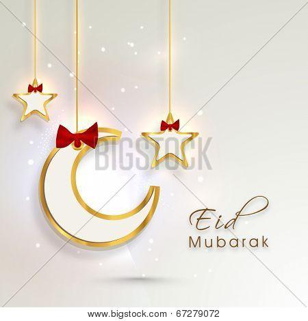 Hanging golden moon and stars on shiny background for Eid Mubarak festival celebrations.