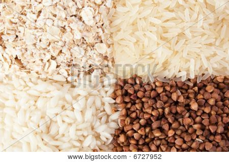 Rolled Oats, Rice And Buckwheat