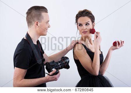 Fashion Model Adjusting Her Make-up