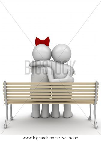 Embracing couple on a bench