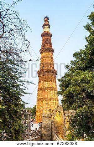 Qutub Minar Tower Or Qutb Minar, The Tallest Brick Minaret In The World