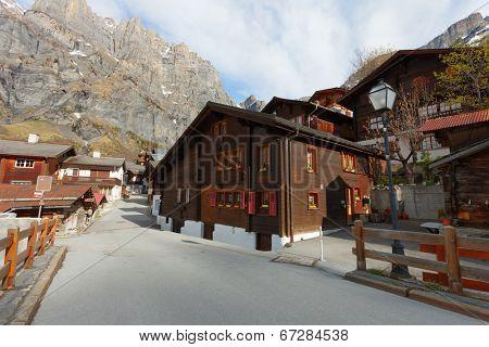 Old street in Leukerbad, canton of Valais in Switzerland.