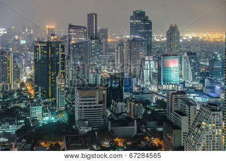 Bangkok Cityscape, Business District With High Building At Dusk (bangkok, Thailand)