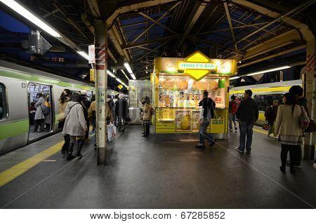 Tokyo - November 23 : Rush Hour At The Shinjuku Train Station In Japan