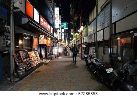 Tokyo,japan - November 23: Narrow Pedestrian Street Known As Yakatori Alley(omoide Yokocho) In The O