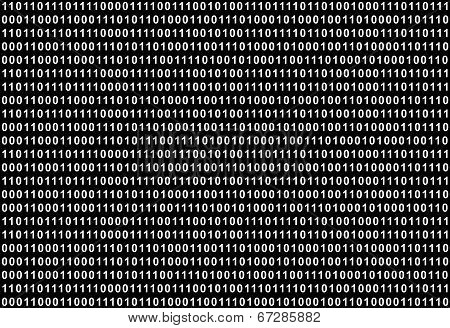 The Binary Code, white text on black background, large file size