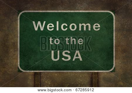 Welcome to the USA distressed highway roadsign.