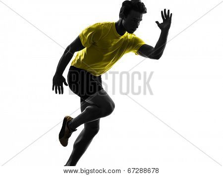 one  man young sprinter runner running in silhouette studio on white background
