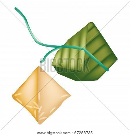 Rice Dumpling Or Zongzi In Bamboo Leaf