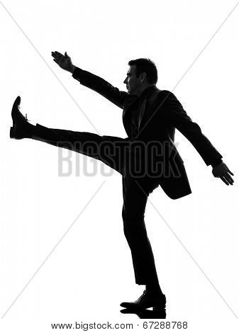 one caucasian extreme right wing man marching in silhouette on white background
