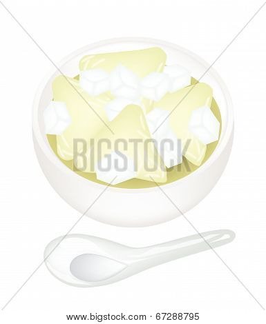Rice Dumpling With Syrup In A Bowl