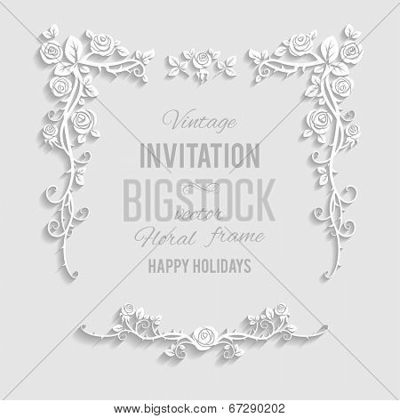 Floral elegant frame with place for text. Festive backdrop for greetings, invitations or any text