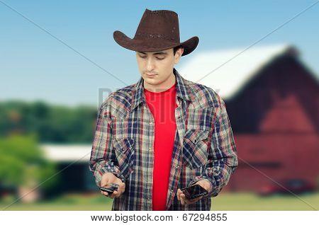 Cowboy Deciding Whom To Call Him