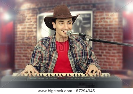 Young Handsome Cowboy Singing