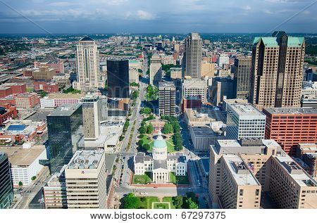 Aerial Of The Old Court House Surrounded By Downtown St. Louis