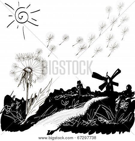 wild flowers on the glade. Vector illustration.