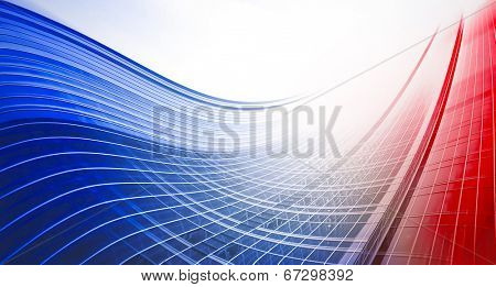 Abstract illustration background texture of perspective wide angle view to steel light red glass surface, high rise building skyscraper commercial modern city of future. Business industry architecture