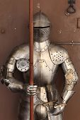 stock photo of armor suit  - The armor in an antique shop Czech republic - JPG