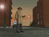picture of private detective  - Detective of the 40s in a street at night - JPG
