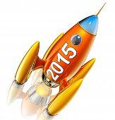 stock photo of reboot  - 3d rendering of a rocket with a 2015 icon - JPG