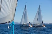pic of sail ship  - Sailing ship yachts with white sails in a row - JPG