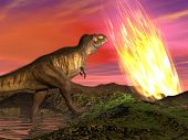 picture of meteorite  - Meteorite falling on the earth at dinosaurs age killing them - JPG
